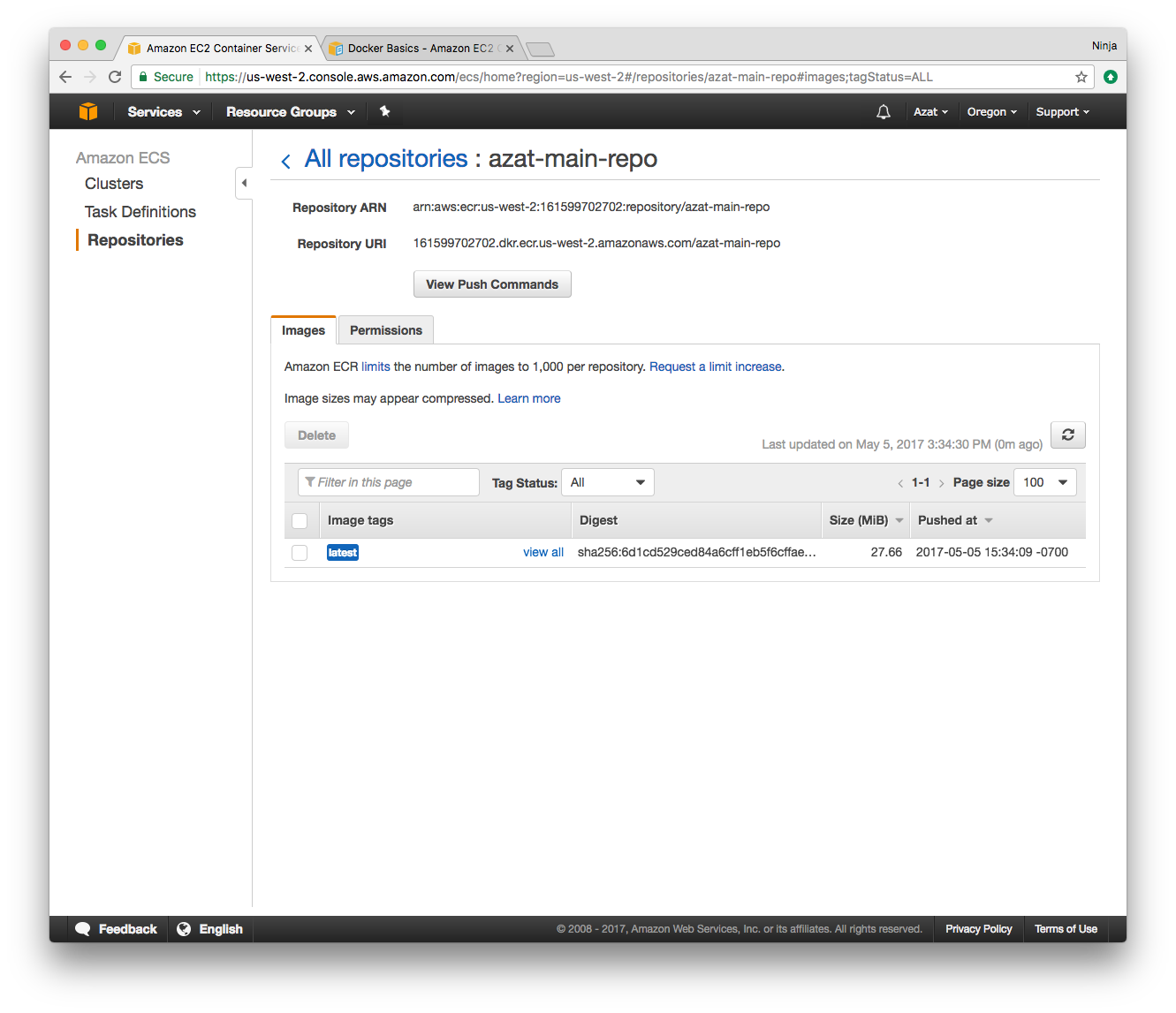 Deploying Node and Mongo Containers on Amazon Web Services Elastic